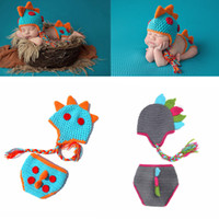 Wholesale newborn props hat dinosaur online - Infant Crochet photography Set Newborn Photography Props dinosaur knit hat shorts suit set Cartoon Baby Cosplay Party clothing AAA979