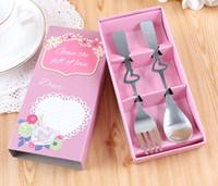 Wholesale spoon fork wedding souvenir resale online - Fork and Spoon Set Stainless Steel Love Tableware Set Party Wedding Favor Wedding Souvenir set