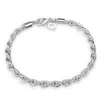Wholesale sterling silver chains bracelet mens - 3mm 4mm 925 Sterling Silver Twist Links Bracelats Designer Bracelet Stainless Steel Jewelry Mens Chain Bangle Luxury Jewelry Braccialetto
