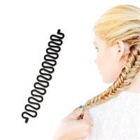 gancho mágico al por mayor-Herramienta de trenzado de cabello francés Braider Roller Hook With Magic Hair Twist Styling Bun Maker Band Accesorios