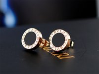 Wholesale pink metal jewelry for sale - Group buy High Quality Celebrity design Women Letter diamond Stud Earrings Fashion Metal Opal Earring Jewelry With Box