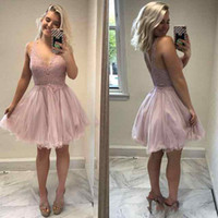 1bc2ac2b17b 2018 Cheap Short Blush Pink A Line Cocktail Dresses Party V Neck Lace  Applique Knee Length Backless Spaghetti Straps Prom Homecoming Gowns