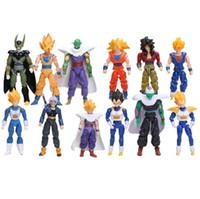 troncos de verduras al por mayor-Dragon Ball Z Articulación Móvil Vegeta Piccolo Son Gohan Son Goku Trunks Vegetto Acción PVC Figuras Juguetes 6 unids / set 13-15 cm