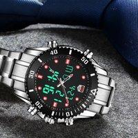 смотреть телевизор tvg оптовых-Top Brand Luxury TVG мужские часы из нержавеющей стали двойной дисплей кварцевые часы мода мужчины спортивные часы 100 м водонепроницаемый дайвинг часы