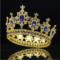 Wholesale wedding hair royal crown for sale - Luxury Royal King Wedding Crown Bride tiaras and Crowns Hair Jewelry Zircon Crystal Diadem Prom Party Head accessories Pageant