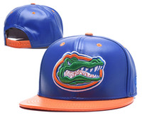 billige blaue kappen großhandel großhandel-Großhandel Billig Männer Florida Gators NCAA Hysteresenhüte USA College Buchstaben D Logo Leder Design Einstellbare Kappen In Blau Orange Farbe