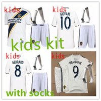 Wholesale Boys Football Jersey Xl - LA Galaxy Soccer Jersey KIDS kit home 18 19 IBRAHIMOVIC GIOVANI ZARDES GERRARD children Football new 2018 19 LA Galaxy kids kits + socks