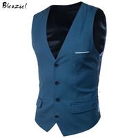 Wholesale Brown Gilet - Bleuziel 9 Colors Suit Vest For Men Slim Fit Dress Vests Male Waistcoat Gilet Homme Casual Sleeveless Formal Business Jacket