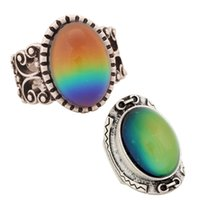 Wholesale antique mens rings resale online - Best Design Women and Mens Lover Antique Silver Plated Mood Stone Ring Cool Statement Ring Set for Sale