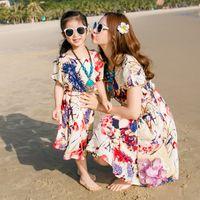 strandkleid mom tochter großhandel-Familie Kleid passenden Outfit Kleidung Baumwolle Mutter / Mutter und Tochter Kleid Kleidung Vater Sohn Kleidung Sets Family Style Set New Beach