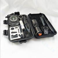 комплект аварийного инструмента оптовых-Открытый 9in1 Survival Kit Портативный Аптечка Туристическое Снаряжение Отдых На Природе Инструменты Аварийный Поход Комплект Свисток Спасательная Тактическая Ручка