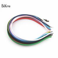 ancho de la banda al por mayor-BoYuTe 20 piezas color sólido Wraped ancho de la venda de la tela 5 MM Hairband para las mujeres Diy Accesorios para el cabello