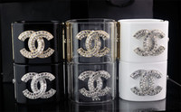 Wholesale cuff leather bracelet stones - Factory Price High Quality Luxury Rivets Double Diamond cuff Wide bracelet Fashion Clear Crystal Punk Acrylic bracelet With Box
