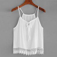 Wholesale modal clothing wholesale - MUQGEW blouse Women Sleeveless Solid Bandage Lace V-Neck Sleeveless Solid Blouse Crop Tops Short Clothing Length blusa
