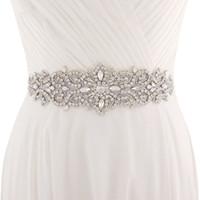 faja al por mayor-2019 Cinturón de marfil blanco hecho a mano para los vestidos de boda Cristal de abalorios Sash de la boda Accesorios de la boda Rhinestone Sash Sash CPA1222