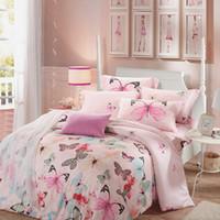 Wholesale white princess bedding - Pink Butterfly Bedclothes Tencel Bedding Set Luxury 4pcs Soft Bed Linen Princess Duvet Cover Sets King Queen Size 2017 New