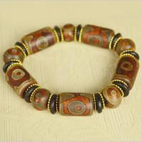 ágata tibetana dzi al por mayor-Tibetan plus spacer pulsera de ágata natural dZi Pulsera de perlas de moda hombres y mujeres