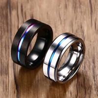 Wholesale rainbow titanium jewelry online - 8mm Black Titanium Ring For Men Women Wedding Bands Trendy Rainbow Groove Rings Jewelry Usa Size