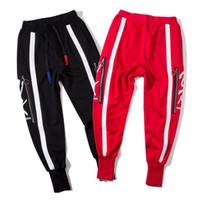 Wholesale harem pants for men pattern - Fashion casual tide brand pants for men letter print zipper hip hop jogging pants men new drawstring men harem pants free shipping