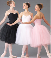 balé de cisne branco venda por atacado-Adulto Novo Romântico Ballet Tutu Dança Prática de Ensaio Saias Swan Trajes Para As Mulheres Longos Vestidos de Tule Branco Rosa Preto cor