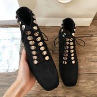 sapatas do salto do metal venda por atacado-Famoso marca designer punk botas mujer glitter camurça de couro cross-amarrado de metal decorar calcanhar botas de motocicl ...