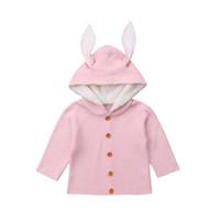 suéteres lindos del niño al por mayor-Cute Newborn Toddler Kids Baby Girls Boy manga larga de punto suéter 3D conejo oreja con capucha Cardigans abrigo prendas de vestir exteriores