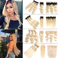 Wholesale blonde brazilian hair online - Onlyouhair B Ombre Human Hair Bundles with Closure Brazilian Virgin Hair Body Wave Straight Blonde Bundles with Lace Frontal
