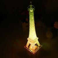 ingrosso torre eiffel illuminata-Colorful 3D lampada LED Night Light La Torre Eiffel 3D Illusion Night Lamp Table Home Lighting