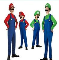 fantasia luigi halloween venda por atacado-Super Mario Bros Cosplay Set Adulto Crianças Halloween Party MARIO Luigi Irmãos Fantasia Traje romper + chapéu + Barba KKA5689