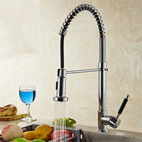 Wholesale pull taps wholesale online - Total Copper Kitchen Faucet Rotatable Spring Water Tap Pull Out Type Hot Cold Stopcock Wash Vegetables Tools Convenient sl jj