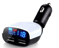Wholesale uk alarms resale online - LED Screen Car Charger A Dual USB for iPhone iPad Samsung Charger Cars Voltage Monitoring Display With Buzzer alarm