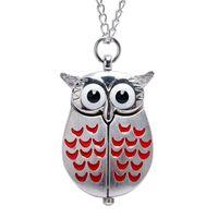 mujer búho reloj al por mayor-Reloj de bolsillo Vintage Mini Wing Owl reloj de bolsillo de cuarzo Collar de cadena regalo para hombres mujeres Top regalos