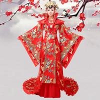 trajes da rainha venda por atacado-Chinês antigo Hanfu show Hot Pink Slap-up Dinastia Tang Rainha Traje Nobre Traje Formal De Fadas Traje Feminino