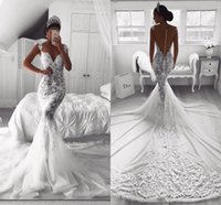 Wholesale white tulle wedding skirt - Vintage Sexy Full Lace 2018 Mermaid Wedding Dresses Sheer V Neck Illusion Button Back Court Train Tulle Wedding Dress Bridal Gowns Custom
