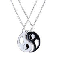 yin yang liebhaber anhänger großhandel-2 STÜCKE Beste Freunde Halskette Schmuck Yin Yang Tai Chi Anhänger Paare Gepaart NecklacesPendants Liebhaber Valentinstag Geschenk