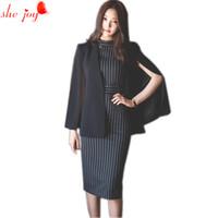 ingrosso abiti da donna di ginocchio delle donne-Vestito da donna vestito coreano Nuovo vestito mantello + strisce Vestito al ginocchio 2 pezzi Vestito da abito blazr Twinset Abiti da lavoro OL Abiti da lavoro