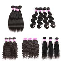 Wholesale Weaves Hair Piece Prices - Brazilian Virgin Hair Body Wave Human Hair Weave Unprocessed 8A Straight Hair Extensions Water Wave Weaves Deep Wave Bundles Wholesae Price