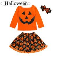 turuncu tişört bebek toptan satış-Çocuklar Cadılar Bayramı Kabaklar 3 adet Set Bebek pamuk T-shirt turuncu püsküller etek bebek holloween kafa 3 adet kıyafet