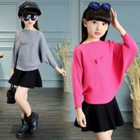 Wholesale teen boys clothing - Kids Teens Bow Sweaters For 2018 Girls Clothing Children Knitted Batwing Sleeve Sweaters Autumn Knitwear 2 4 8 10 12 14 Years