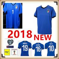 Wholesale Italian Cup - 2018 2019 World Cup Home Blue INSIGNE PIRLO TOTTI EL SHAARAWY VERRATTI Italian Soccer Jerseys National Football Shirts Thai quality