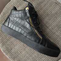 Wholesale genuine leather women shoes drop shipping resale online - New Men Women Black Stone Pattern Genuine Leather Double Zip Sneakers Designer Brand Lovers High Top Casual Shoes Drop Shipping