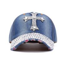 Wholesale ladies rhinestone caps - Summer New Fashion Designer Cross Rhinestone Hats Women Denim Sun Hats Super Quality Outdoor Sport Hat Baseball Hats Caps for Lady