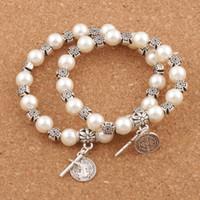 böses gold großhandel-Perle Perlen Saint Benedict Evil Schutz Medaille Kreuz Charme Frühling Armbänder BB70 6,5