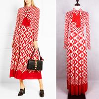 30f3cc608792 ALTA QUALITA  Fashion Designer Runway Bianco Rosso Geometrico Circl Stampa  Midi Abiti Impero a maniche lunghe da donna Lunghezza tè Abito Plus Size  XXXL