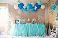 Wholesale Blue Tulle Rolls - Tiffany Blue Organza Tulle TUTU Table Skirt roll Fabric Spool Tutu Wedding Birthday Party Decoration Chair Festive Supplies