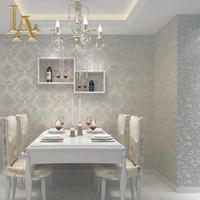 Wholesale Beige Bedroom Designs - Wholesale- European Simple Luxury Beige Grey 3D Damask Wallpaper Living room Bedroom Modern Design Nonwoven Wall papers Home decor