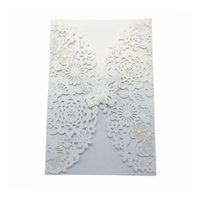 Wholesale butterfly envelopes - 10pcs Vertical Laser Cut Butterfly Invitations Cards Kits for Wedding Bridal Shower Birthday with Ribbon Paper and Envelopes