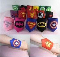Wholesale cosplay wristband online - Kids Superhero wristband Sets Spiderman Captain American Ironman for Kids Cosplay wrists for dance Birthday Christmas party Cosplay toy