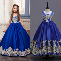 niños vestidos de fiesta azul al por mayor-2019 New Royal Blue Flower Girls Dresses Toddler Kids Flower Girl Dress para bodas Appliques Girls Pageant Prom Gowns MC1626