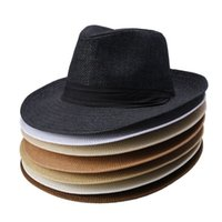 Wholesale solid straw fedora hat online - 7 Colors Fashion Unisex Hat Men Women Summer Sun Beach Grass Braid Fedora Trilby Wide Brim Straw Cap NNA320